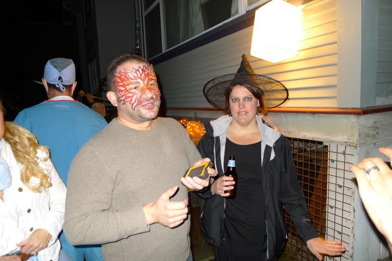 David with his borrowed mask and his wife Aubrie