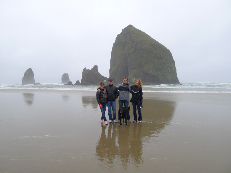 Braving the misty rain at Cannon Beach