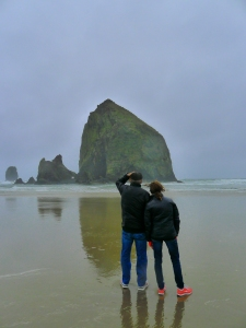 Bob and Chris checking out Haystack Rock