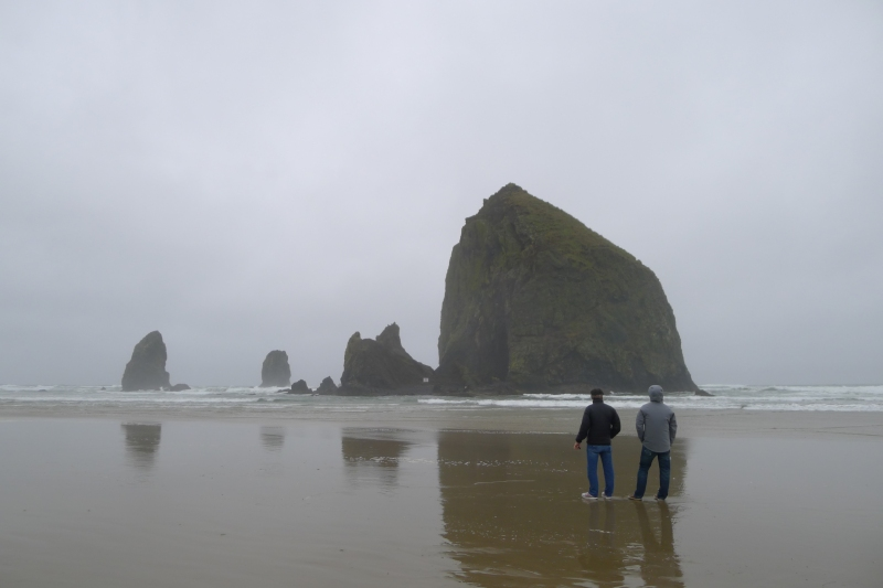 Bob and Jeff taking in majesty of Haystack Rock