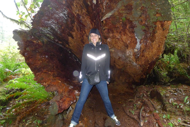 Me and my reflect-o jacket inside a fallen tree trunk