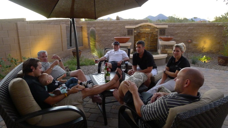 Chilling on Uncle Dick and Aunt Barb's patio