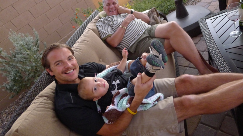 Jeff, sporting his Movember moustache, playing with little cousin Easton (who we obviously need to outfit with Nike clothes) :)