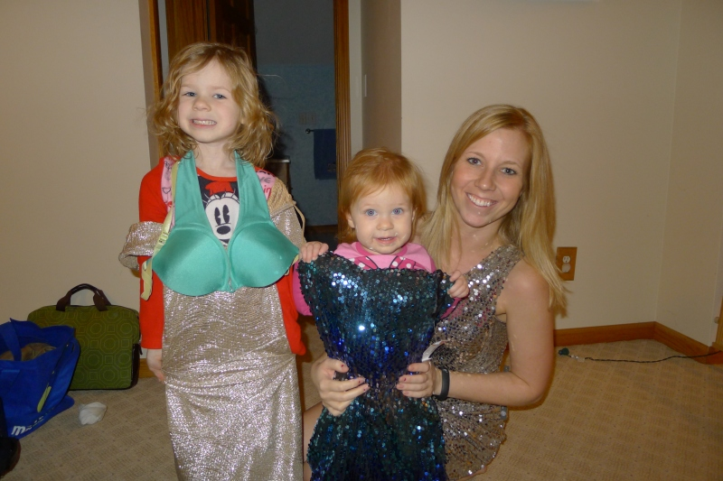 Modeling sequined New Year's Eve dresses with Aunt Shelly