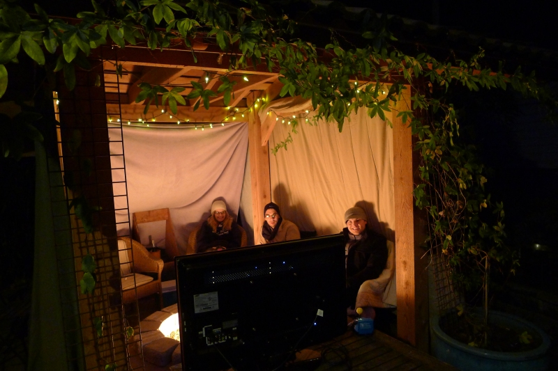 Jeff's handiwork: a New Year's Eve cabana in our backyard!