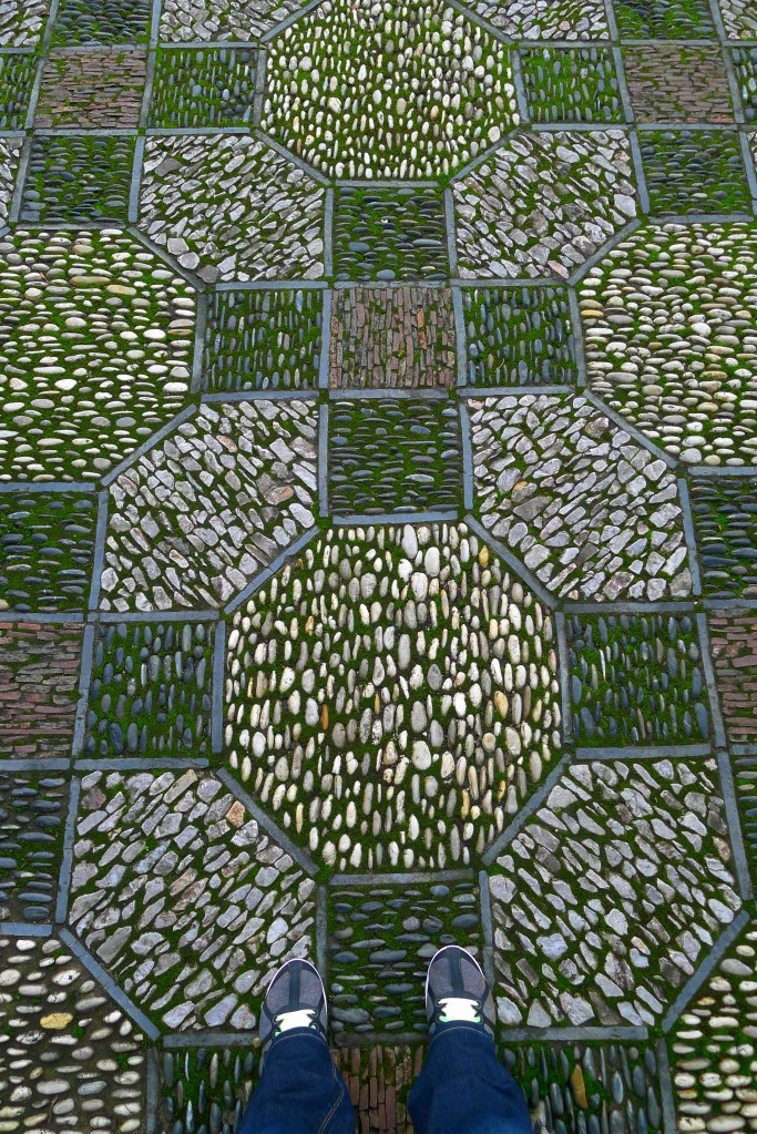 One of many stone mosaic patterns on the ground