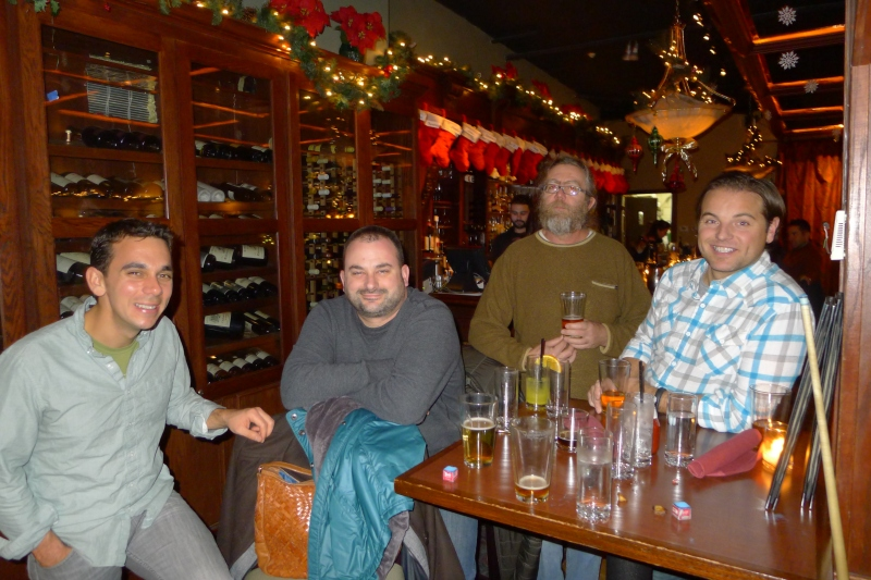 Looking like boozers with all those empty glasses: Daniel, Dave, Travis and Jeff
