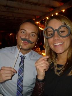 Jeff in his hipster tie and moustache, me in my fancy glasses