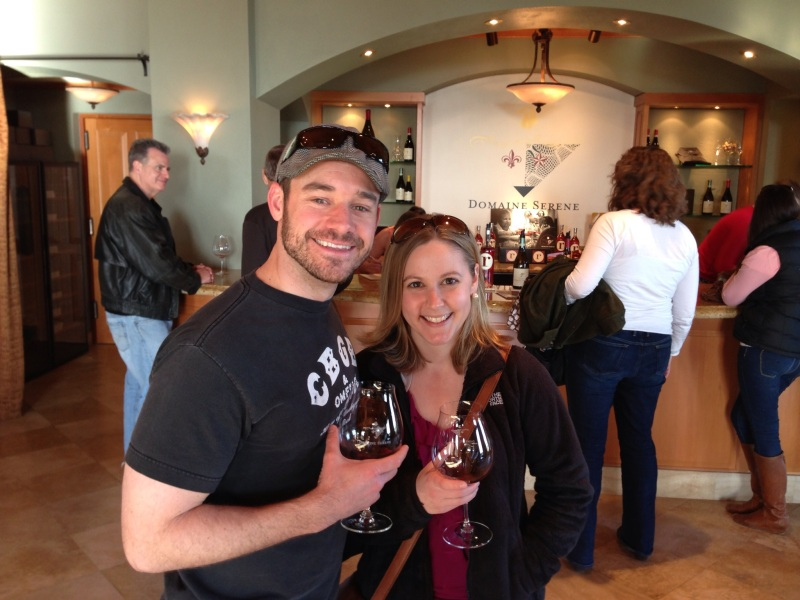 A glass of pinot noir at Domaine Serene