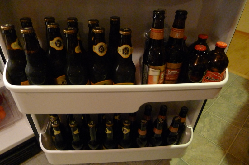 Fridge stocked with Henry Weinhard's Private Reserve, Widmer Drop Top, Full Sail Session and more