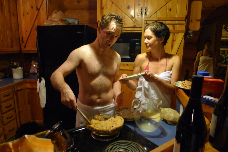 Sean doling out some of his homemade pie to Erin