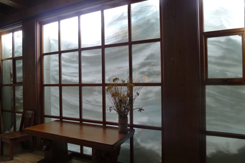 Snow piled against the window at Timberline Lodge
