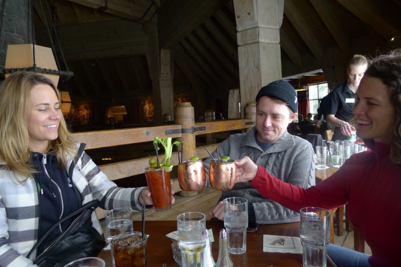 Cheers at Ram's Head Bar in Timberline Lodge