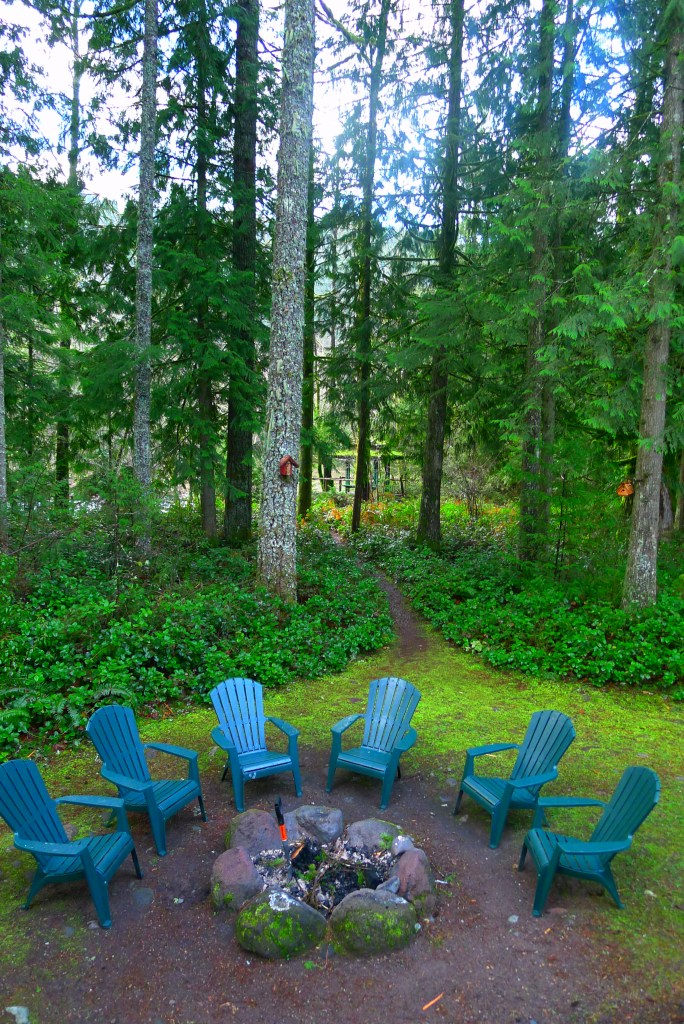 The fire pit just outside, with the Sandy River right behind