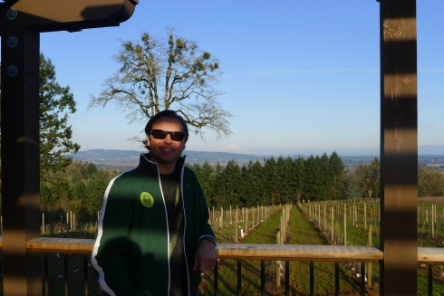 Jeff at Durant Vineyards with Mt. Hood far in the background
