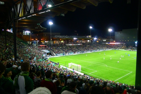 Timbers game, next to the rowdy Timbers Army