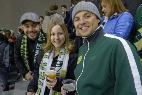 Chris, Julie and Jeff rooting for the Timbers
