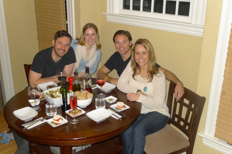A meal at home on the Chepys' last night in PDX