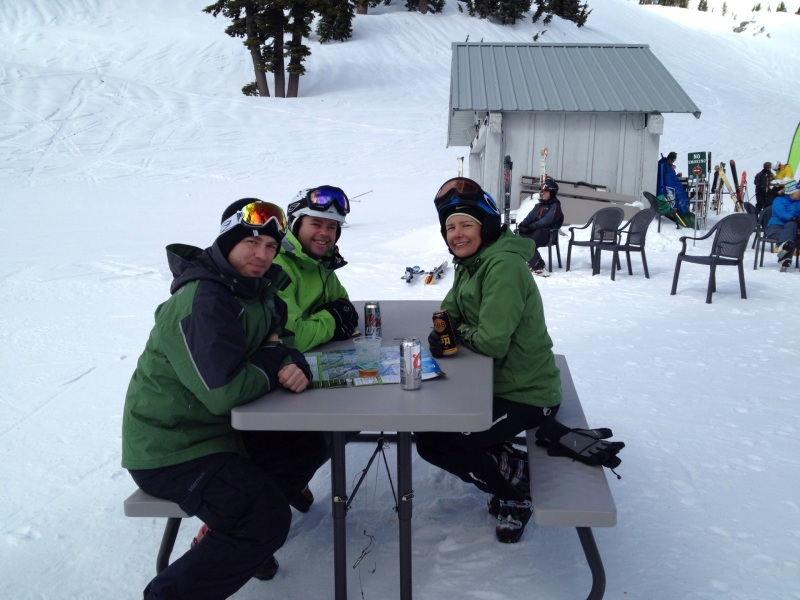 We're getting some skiing in, dang it! Sean, Todd and Erin on Mt. Hood on Sunday