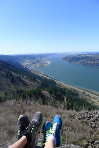 Relaxing in our Nikes atop Angels Rest hike