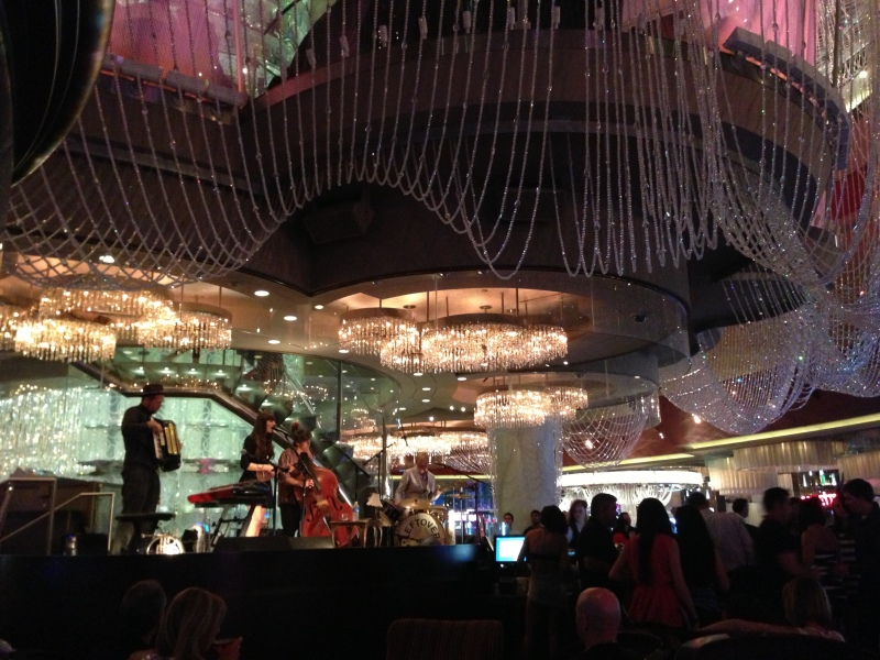 A jazzy band playing at the Chandelier bar