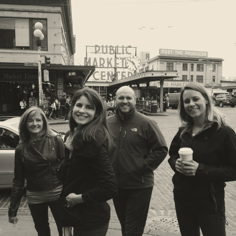 The clan outside the Pike Place Market