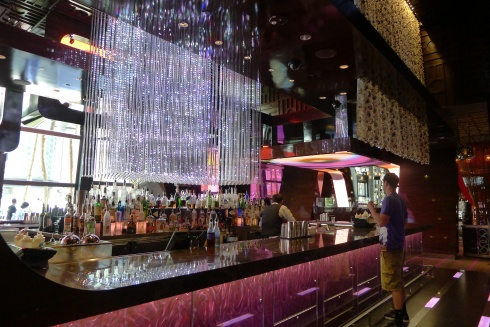 The glitzy lights and displays at Bond in The Cosmopolitan