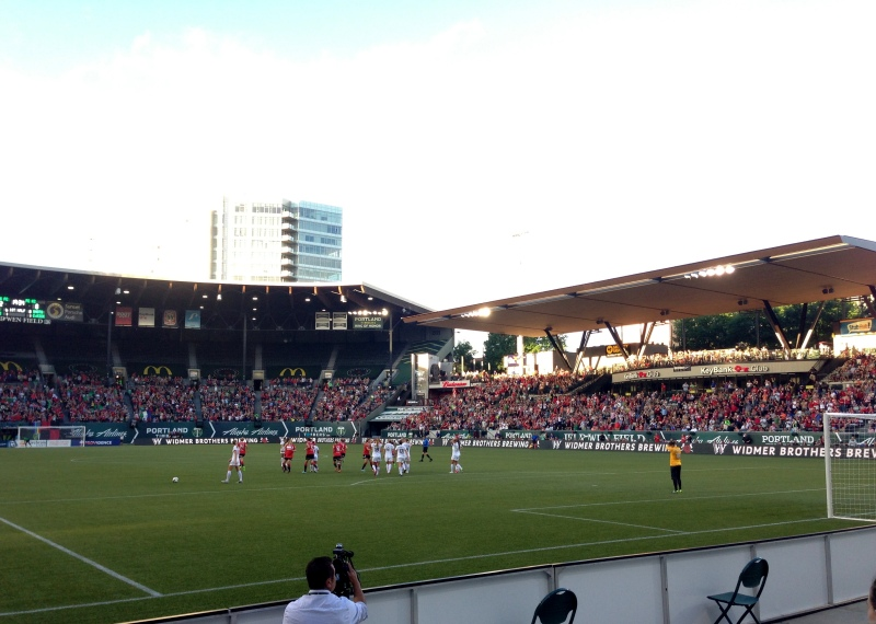 The Thorns score! Checking out the game from the SD1 section.