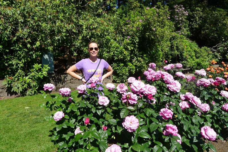 Poses by the roses