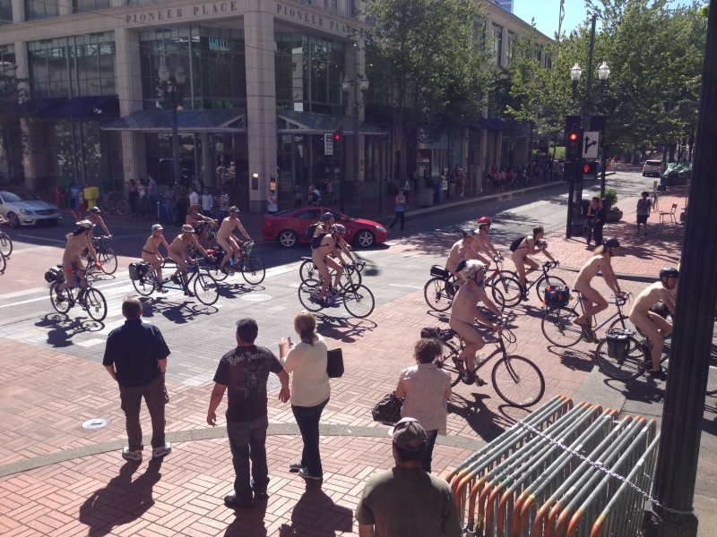 Celebrating Naked Bike Ride Day in downtown Portland