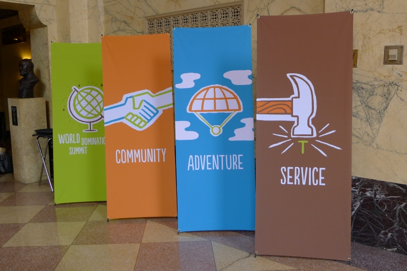 The values of World Domination: community, adventure and service