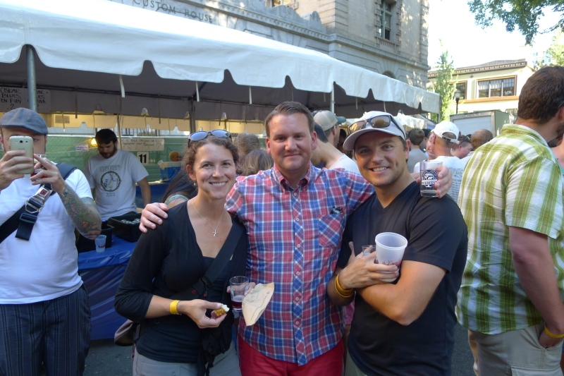 Jessica, Joey and Jeff posing at Portland International Beerfest