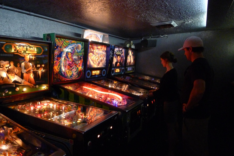 Jeff and Jessica checking out some pinball