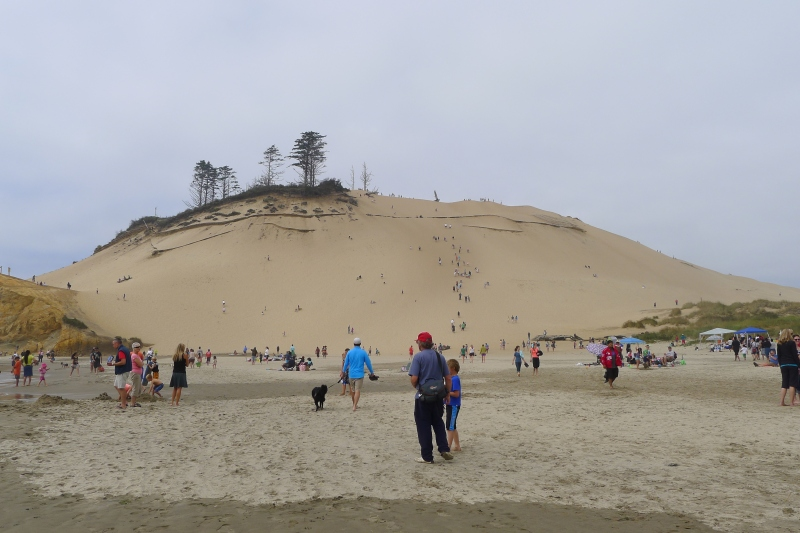 Hiking up to the dune