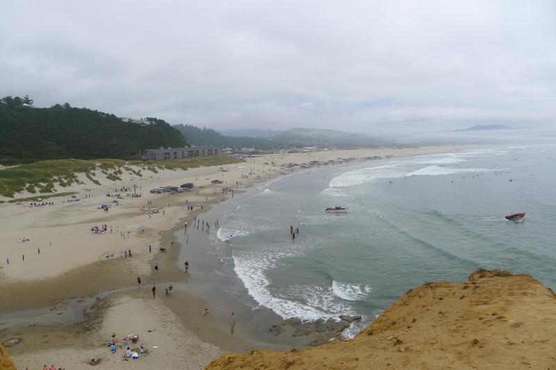 The Pacific City public beach from Cape Kiwanda