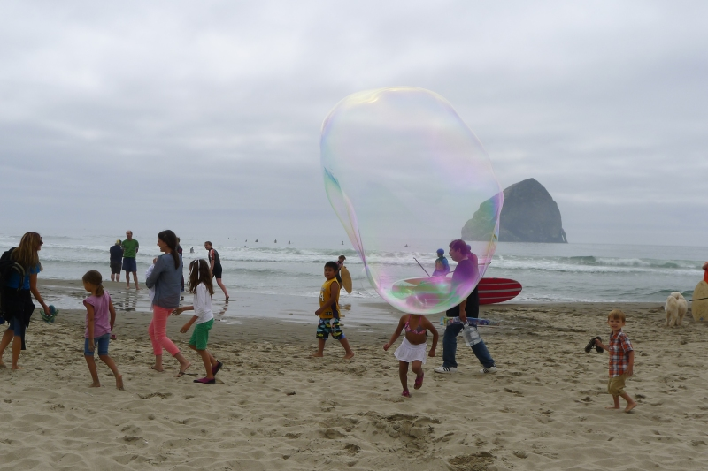 Some mega bubbles on the beach