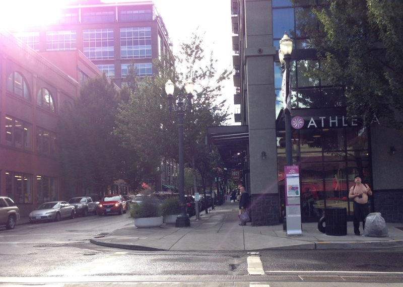 One more example of Portland weirdness: shirtless, suspender-ed man, chillin' outside Athleta