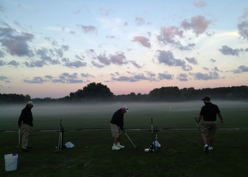 Early-morning golf for the guys