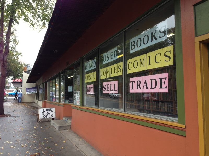 Walking into Bingo Used Books in Southeast Portland