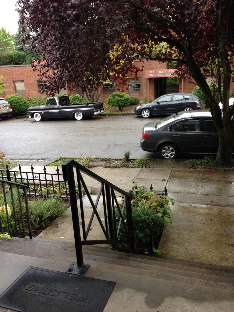 Dreary view outside my front door