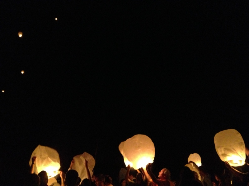 Chinese wish lanterns dotting the sky