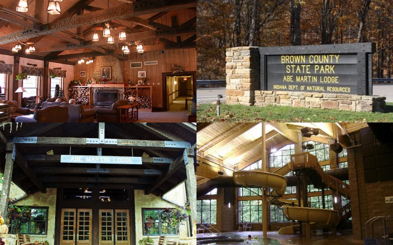 The site of the nuptials: Abe Martin Lodge in Brown County, Indiana
