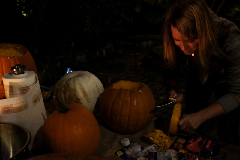 Me, hacking away at my pumpkin