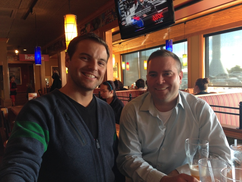 Jeff and newlywed Neal at Applebee's