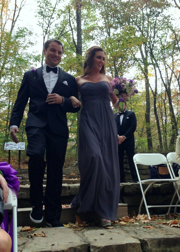 Jeff walking down the aisle with Julie, Jerry's sis