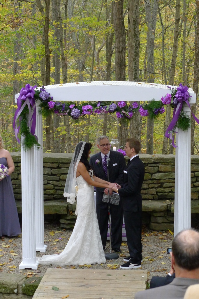 Jeff the officiant asking Jerry and Chrissie to recite their vows