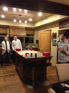 Last night festivities: beer pong, euchre and Taboo