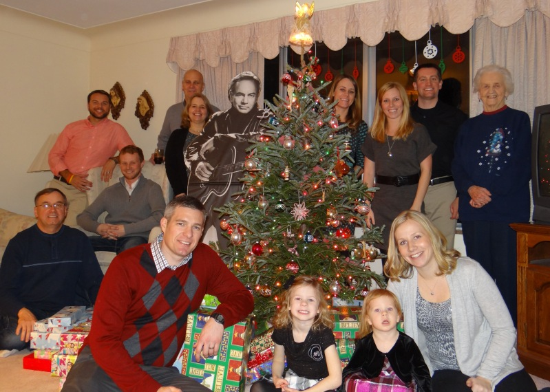 A special visitor in our family pic at Grandma's house – check out my sister's Neil Diamond Wedding Wish