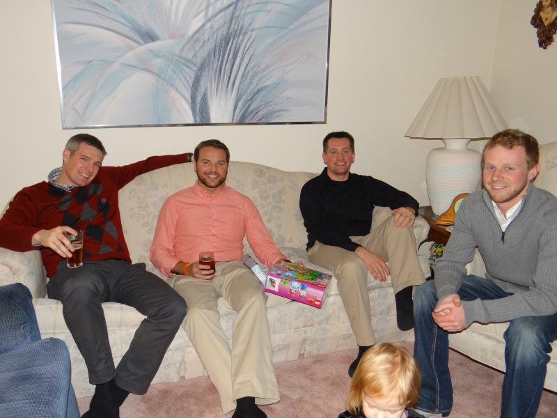 The Redick fam brothers-in-law at Grandma's house on Christmas Eve