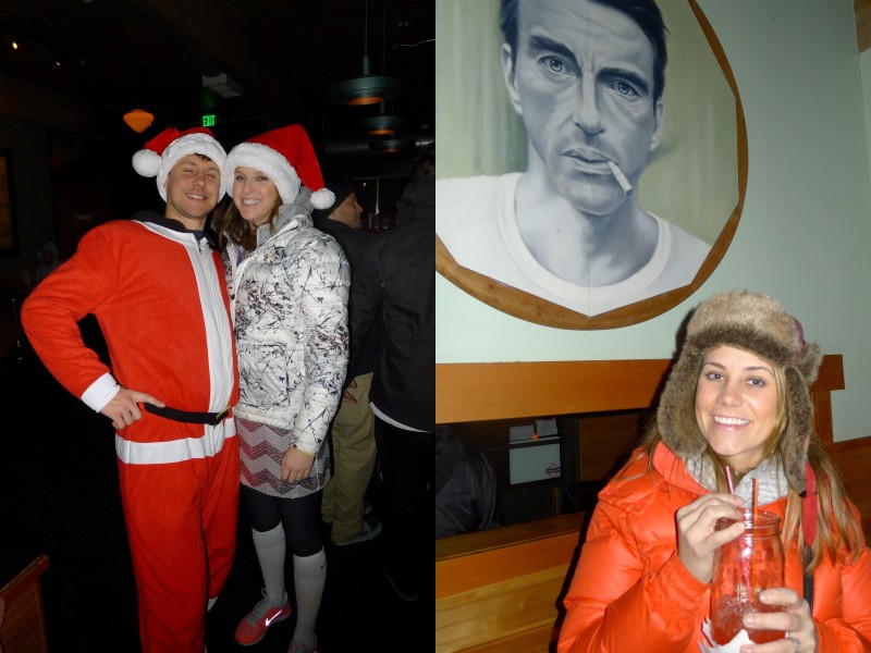 Two shots of happy couples at Bye and Bye on the ugly holiday sweater bar crawl